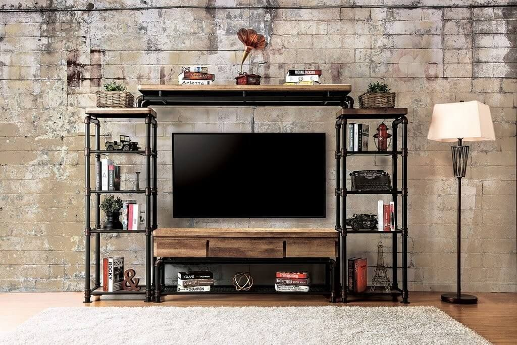 19 Best Diy Entertainment Center Ideas For Inspiration With Images Industrial Livingroom Vintage Industrial Furniture Industrial Tv Stand