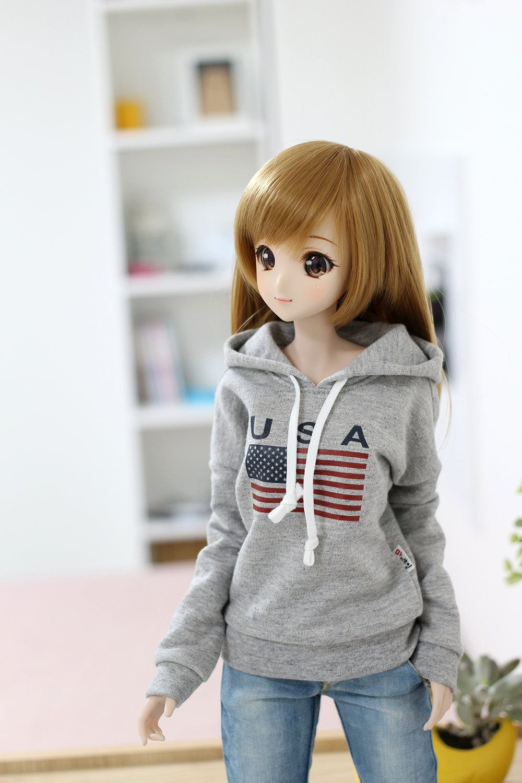 BJD doll clothes - Sd13 Smart doll Gray U.S.A Hoodie