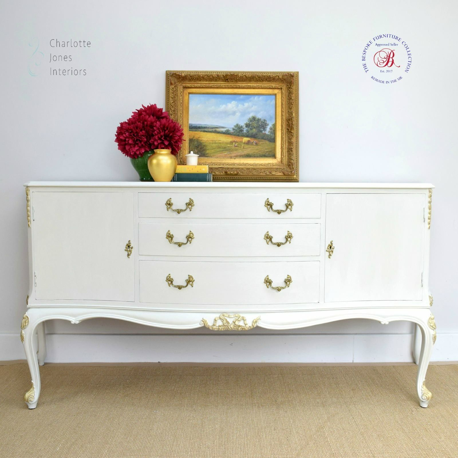 A beautiful handmade bridgecraft sideboard painted in cream