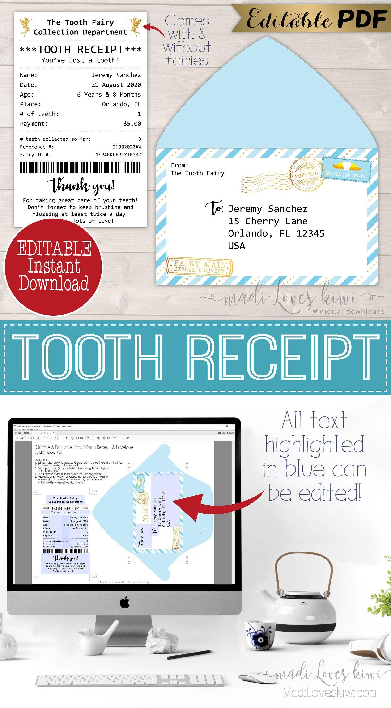 Editable Blue Tooth Fairy Receipt Printable First Lost Letter Etsy In 2020 Tooth Fairy Receipt Tooth Fairy Receipt Free Printable Tooth Fairy