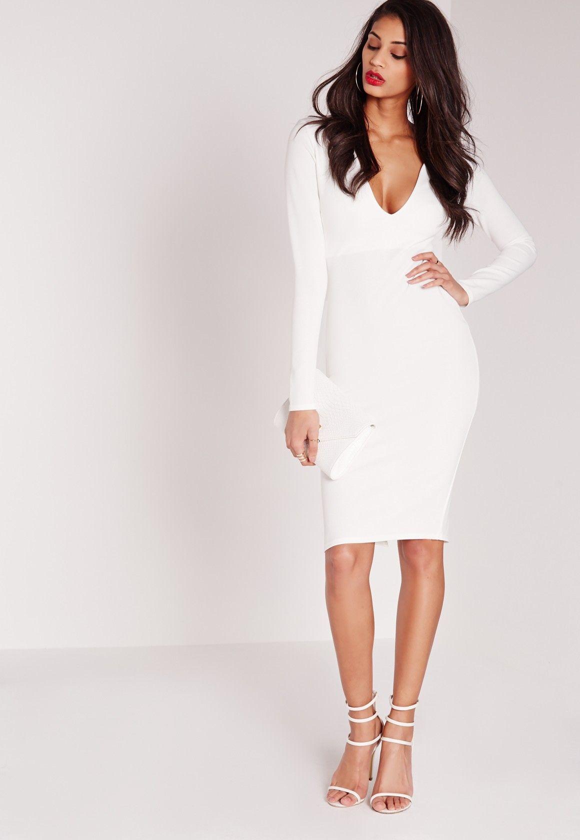 Missguided Ponte Long Sleeve Plunge Midi Dress White White Fitted Dress Dresses Plunge Midi Dress [ 1680 x 1160 Pixel ]
