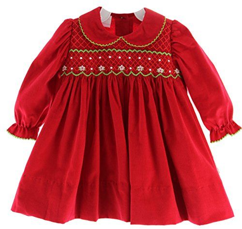 Infant Toddler Girls Long Sleeve Red Christmas Dress With Collar