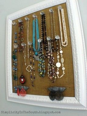 Nice idea for jewelry Master bedroom Pinterest Framed burlap