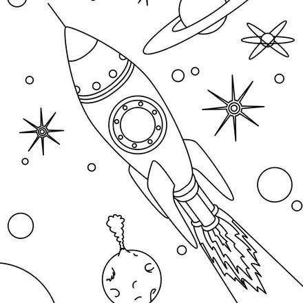 Rocket In Space Coloring Page Space Coloring Pages Rocket