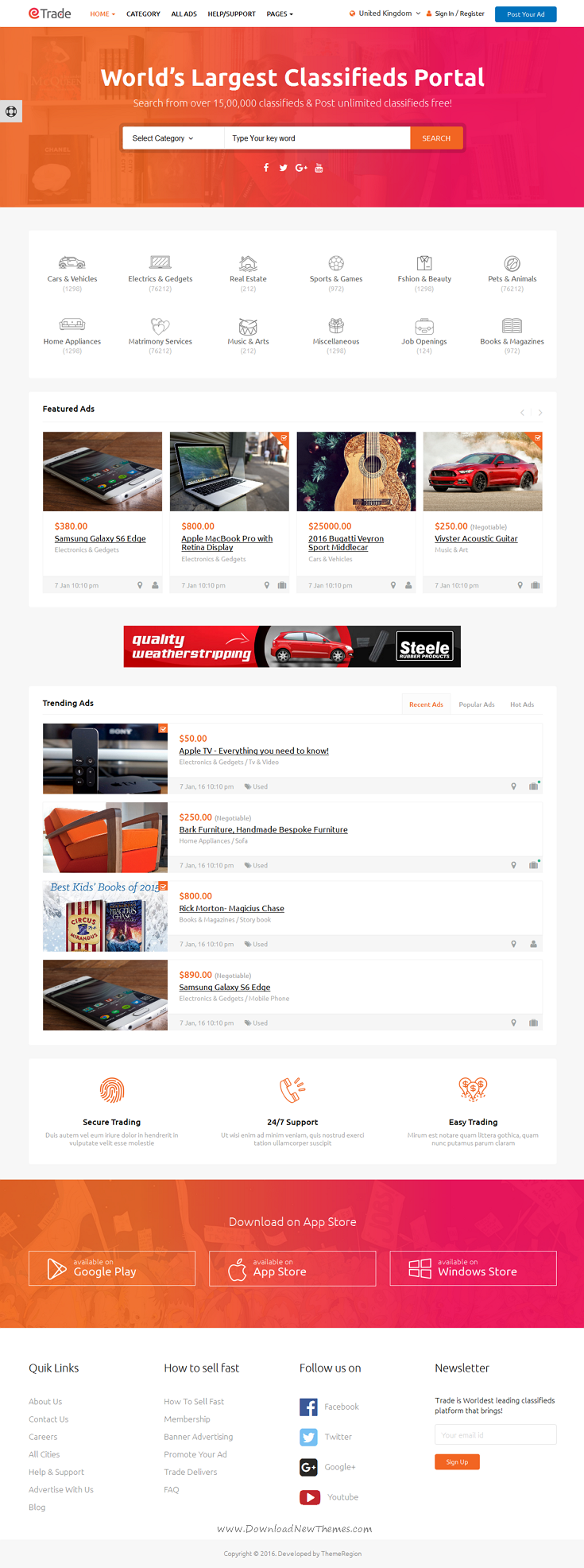 trade is a modern classified ads website template built with bootstrap 3x download now