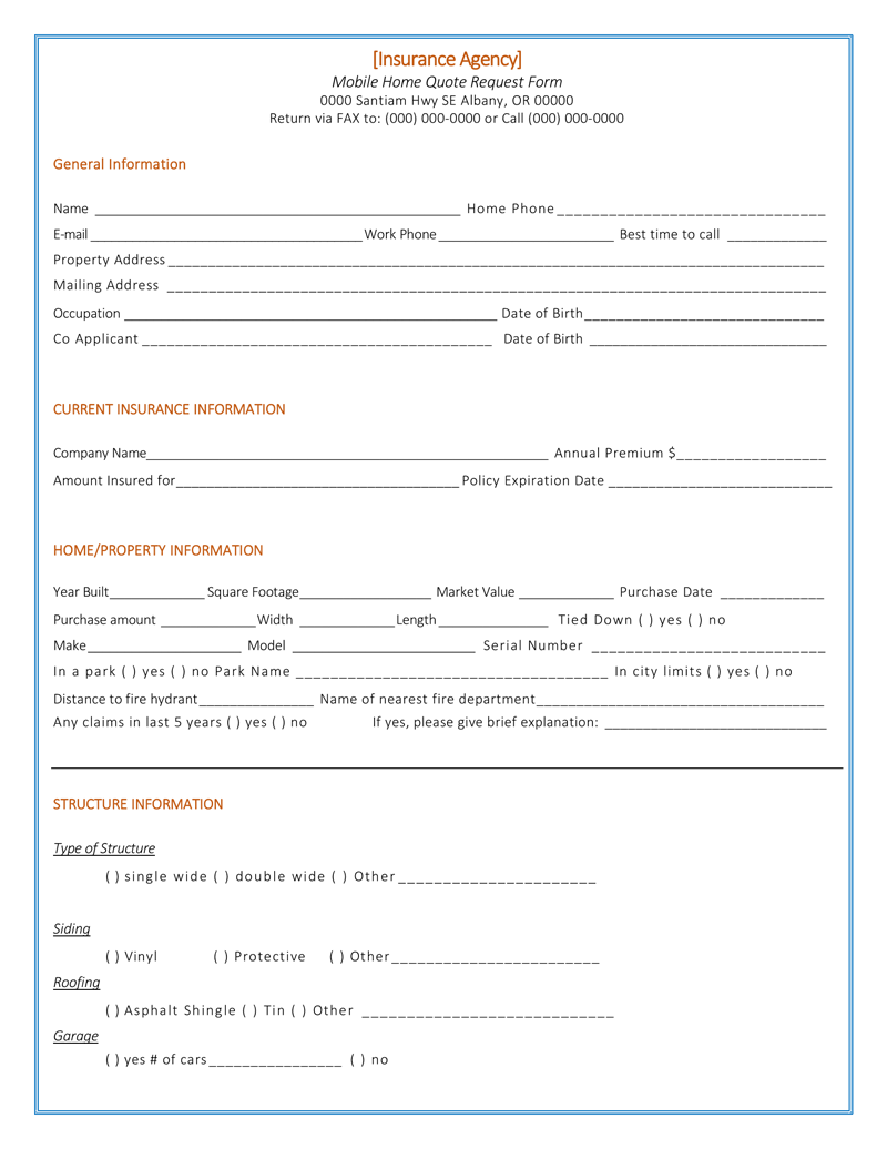 home insurance quote template