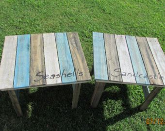 Two Reclaimed Wood End Tables Serene Village Side Table Bedside Nightstand