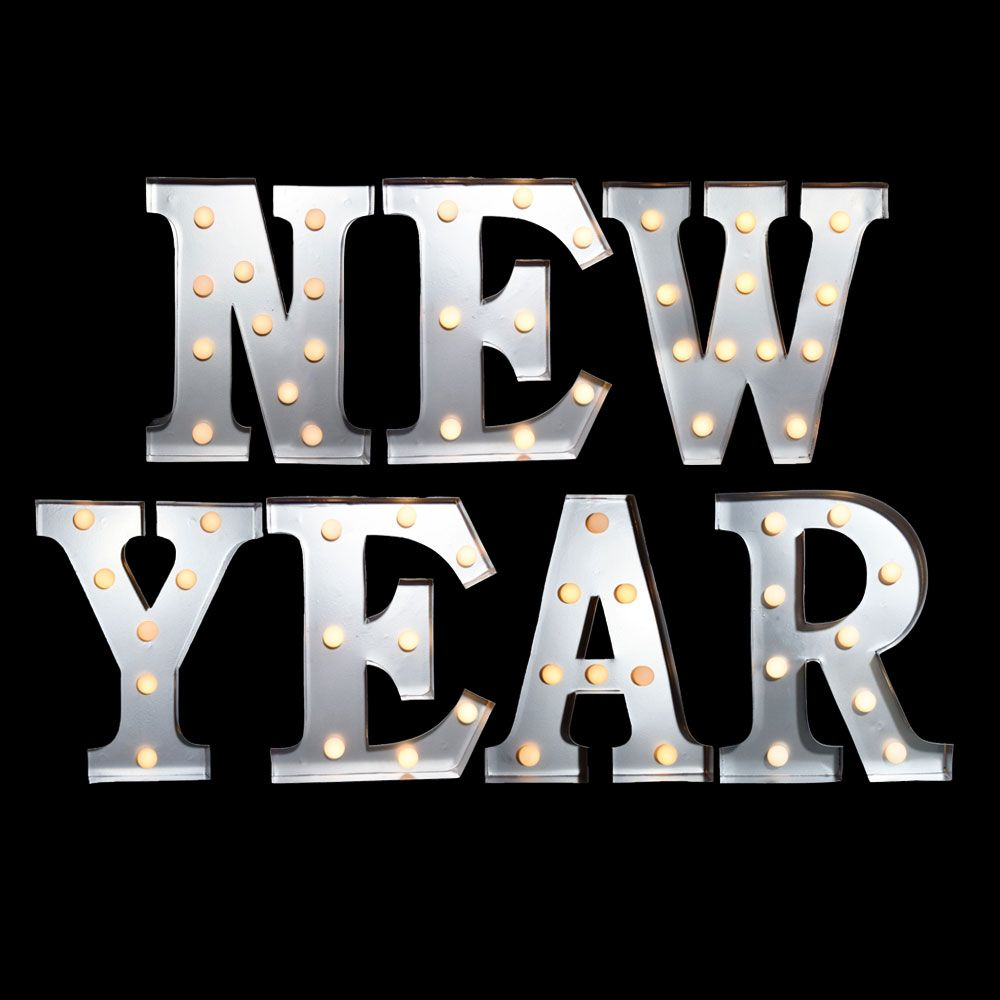 10 Inch Metal Letters White Marquee Light 'new Year' Led Metal Sign 8 Inch Battery