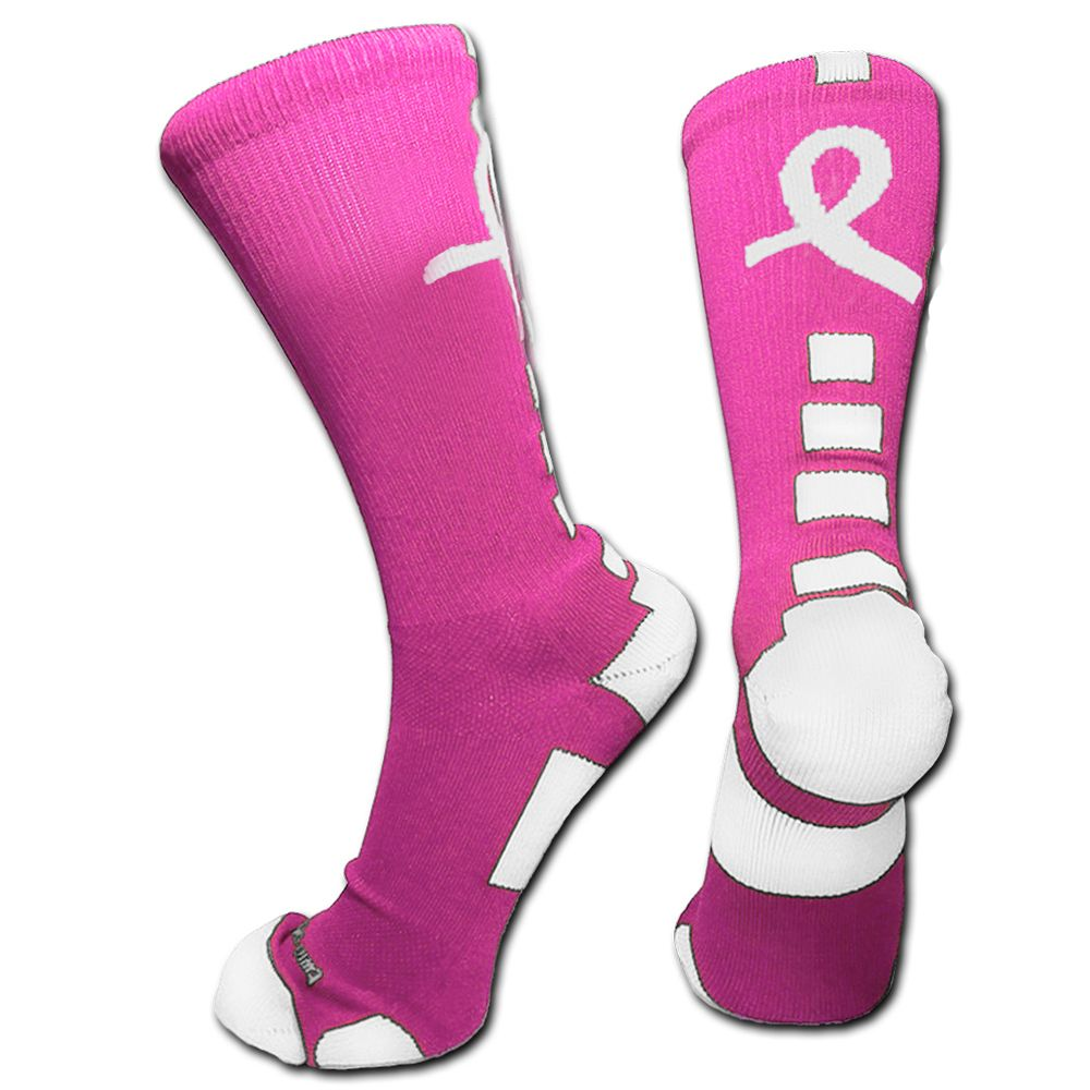 newest b228b bb8ec Pink White Breast Cancer Custom Elite Socks Available for Customization Now  at  http