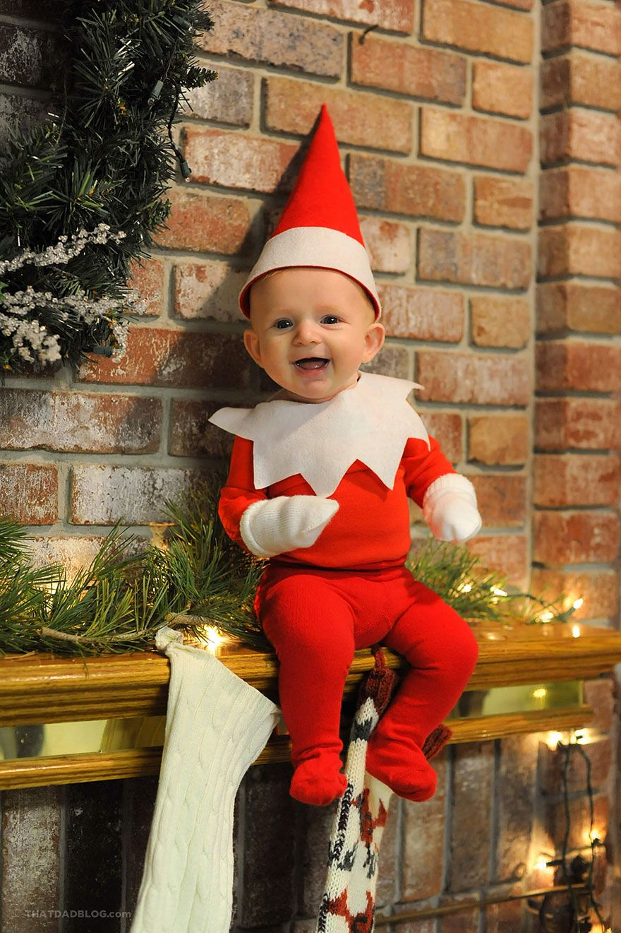 Dad Of Six Turns His Baby Into Adorable Elf On The Shelf Baby