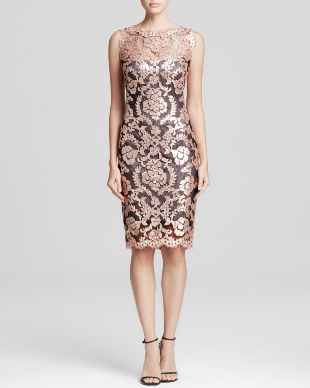 9449208b039 Tadashi Shoji Dress - Sleeveless Illusion Neckline Sequin Lace Sheath