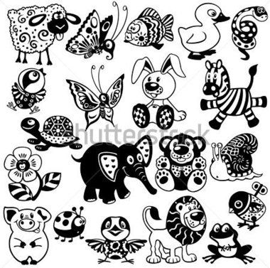Sada S Kreslene Zvirata A Hracky Pro Miminka A Male Deti Cerne A Bile Vektorove Obrazky Vektor Z Knih Cartoon Animals Animal Drawings Black And White Pictures