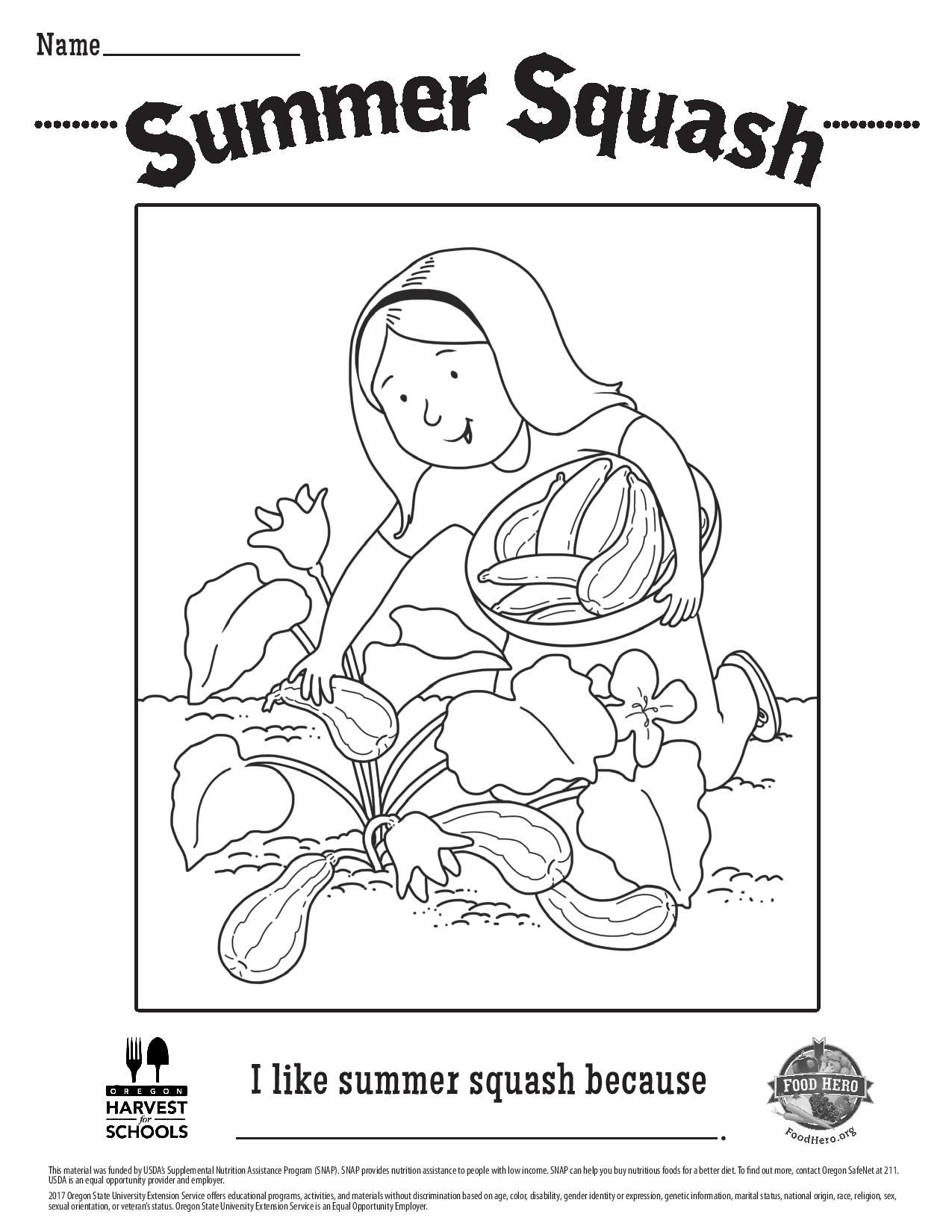 Free Summer Squash Coloring Sheet From Foodhero Org Childrens