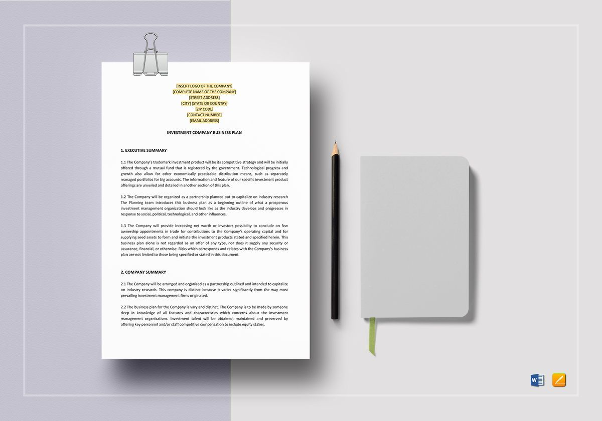 Investment Company Business Plan Template Investment