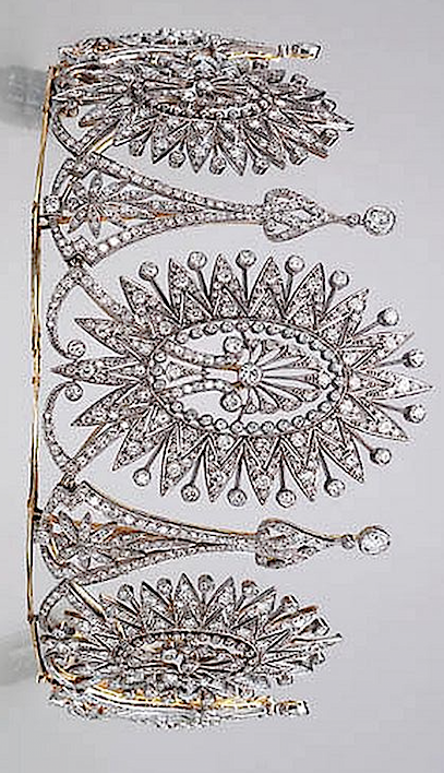 AN IMPRESSIVE DIAMOND TIARA Composed of five graduated circular, single and old…
