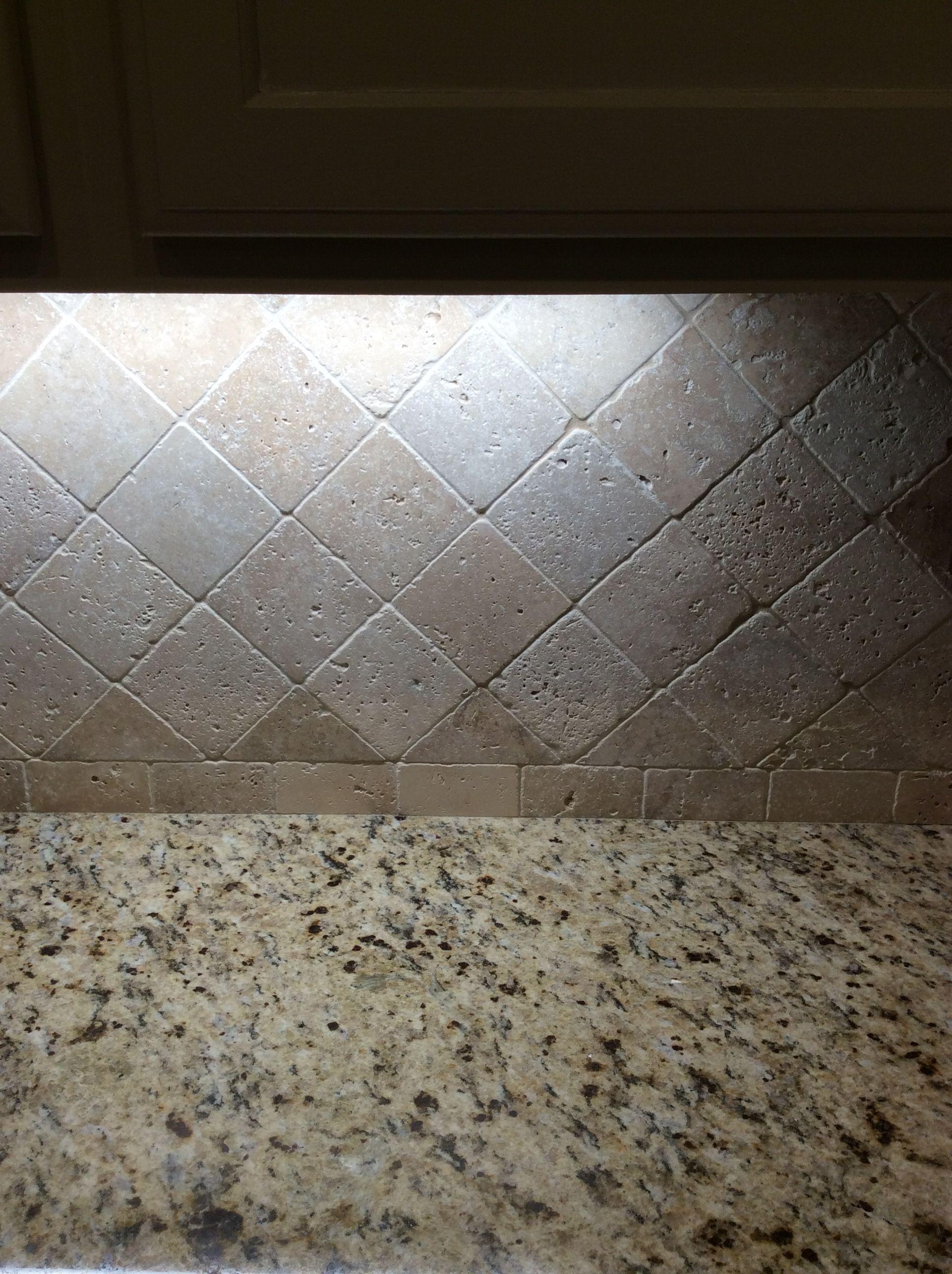 Travertine backsplash with Giallo Ornamental granite | BACKSPLASHES ...