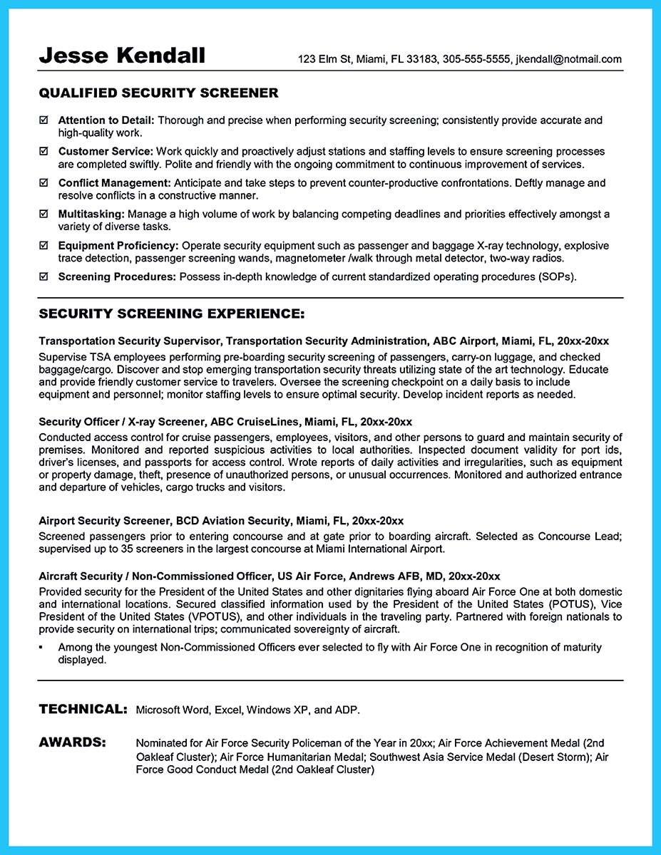 cv template secuirty