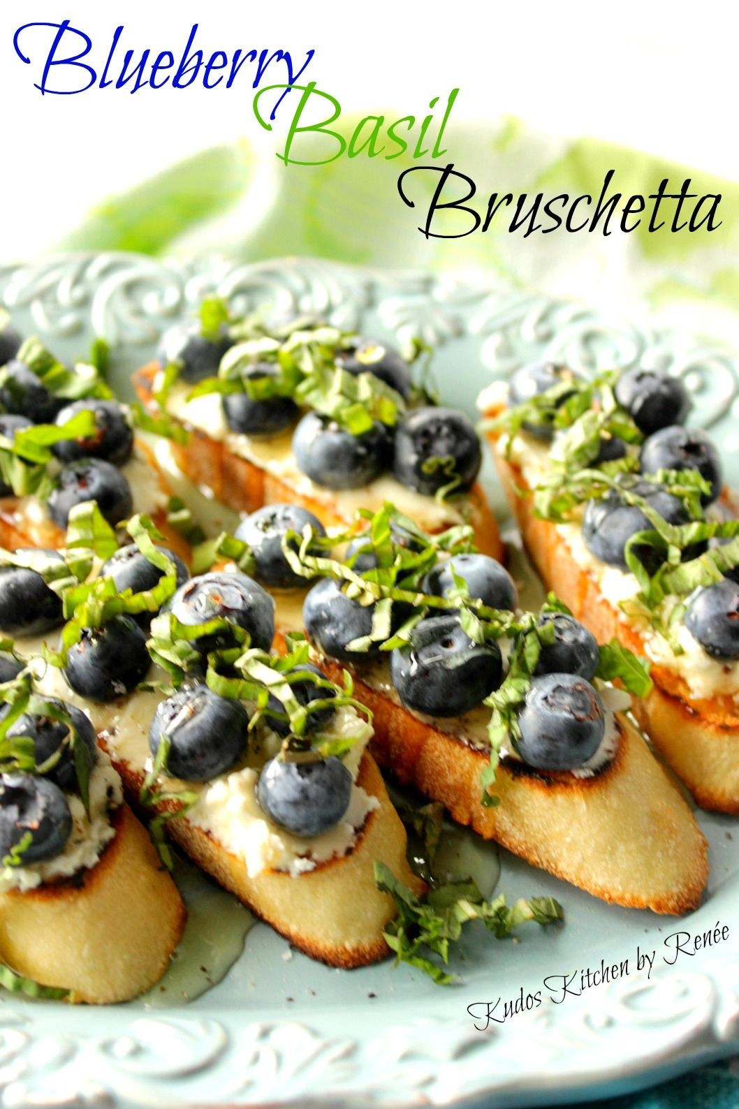 If you have 10 minutes and only 5 ingredients, you can serve delicious Blueberry Basil Bruschetta and to your friends and family and blow them all away! - Kudos Kitchen by Renee