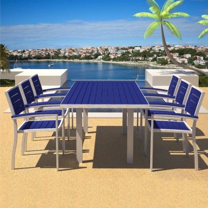 Polywood Euro 36 X 72 Dining Set Combines A Powder Coated