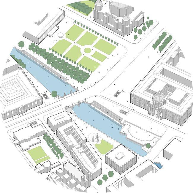 Global Holcim Awards Bronze 2012: Urban renewal and swimming-pool precinct, Berlin, Germany: Segment A: Isometric view of swimming pool area at Lustgarten. (Image © Holcim Foundation)