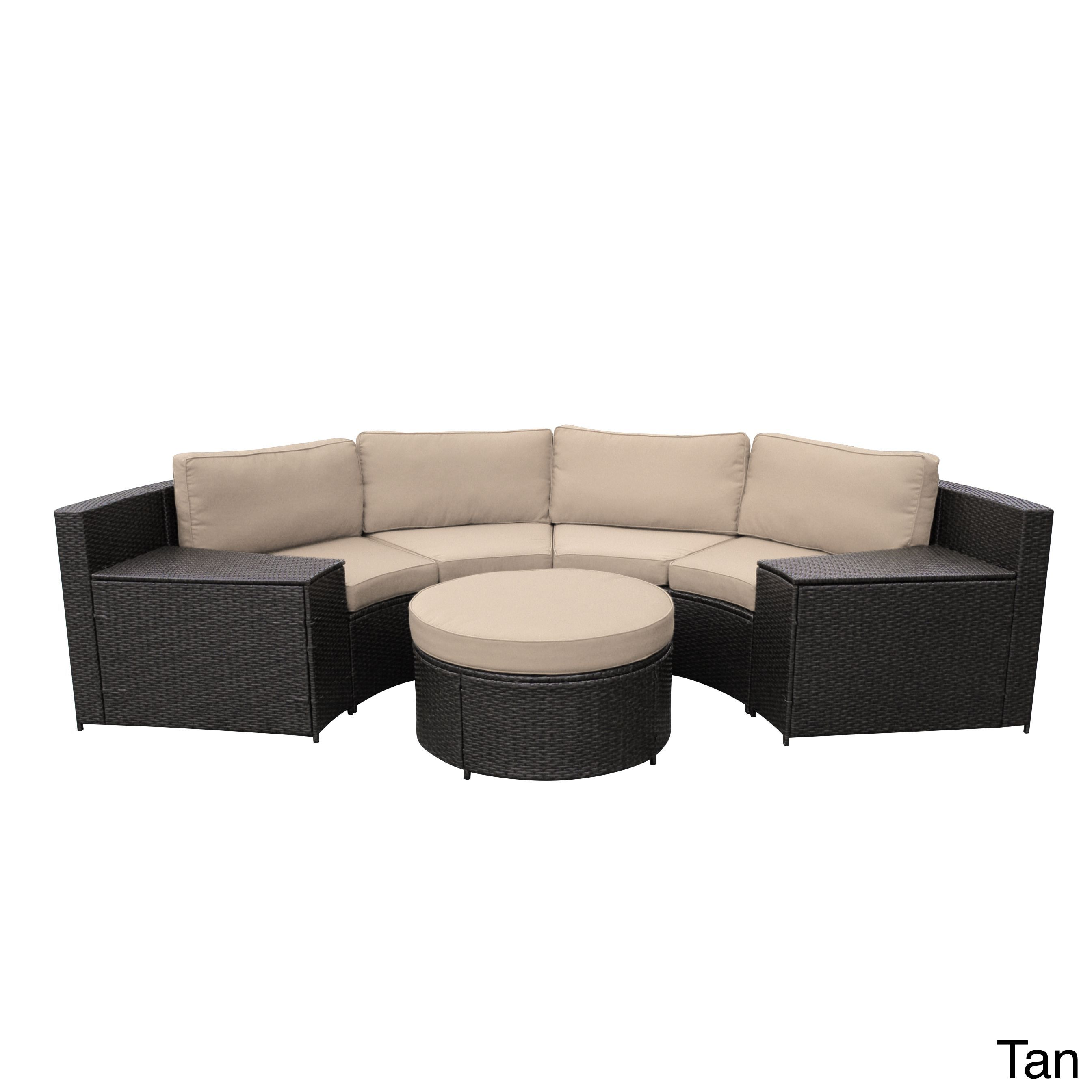 Jeco Cartagena Curved Modular Wicker Sofa With Cushions Tan Size 5 Piece Sets Patio Furniture