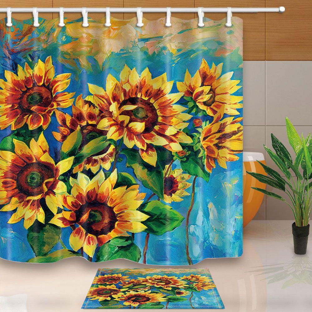 Oil Painting Sunflower Shower Curtain Bedroom Waterproof Fabric Bath Mat New Home Garden B Flower Shower Curtain Bathroom Curtain Set Custom Tile Shower