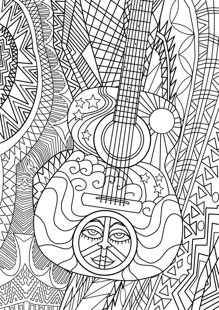 Coloring sheets for adults flamingo - Hippie Coloring Page For Adults