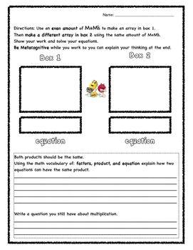 Arrays- multiplication using M&M\'s- worksheet or quick math center ...