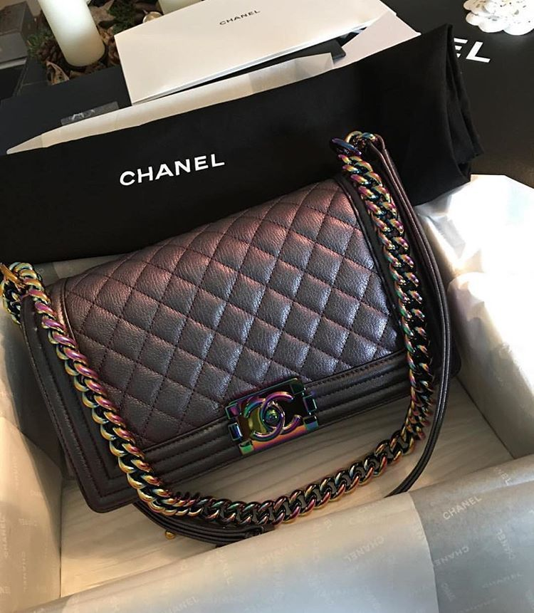 "16ba91a40782 CHANEL on Instagram  ""Beautiful Iridescent Boy CHANEL Flap Bag by   aliceangeliquevejen  chanelbag  chanelboy  boybag"""