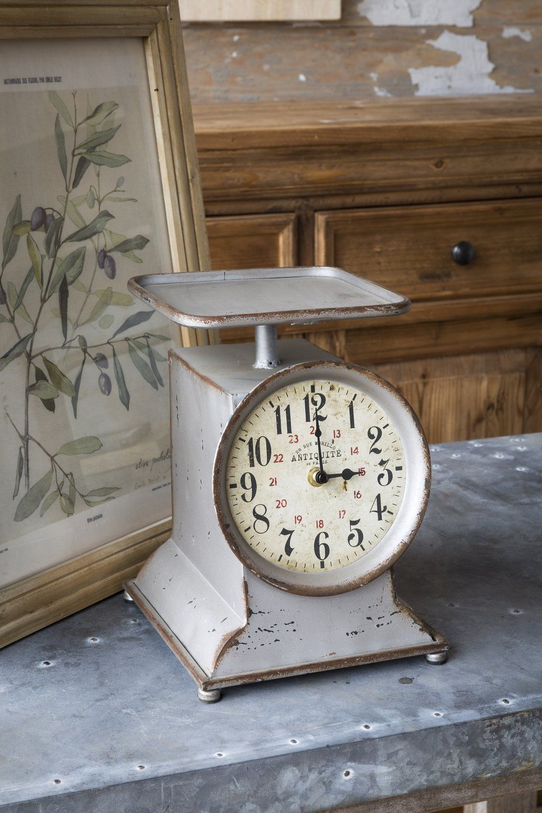 vintage inspired small grocery scale clock farmhouse kitchen nods rh pinterest com