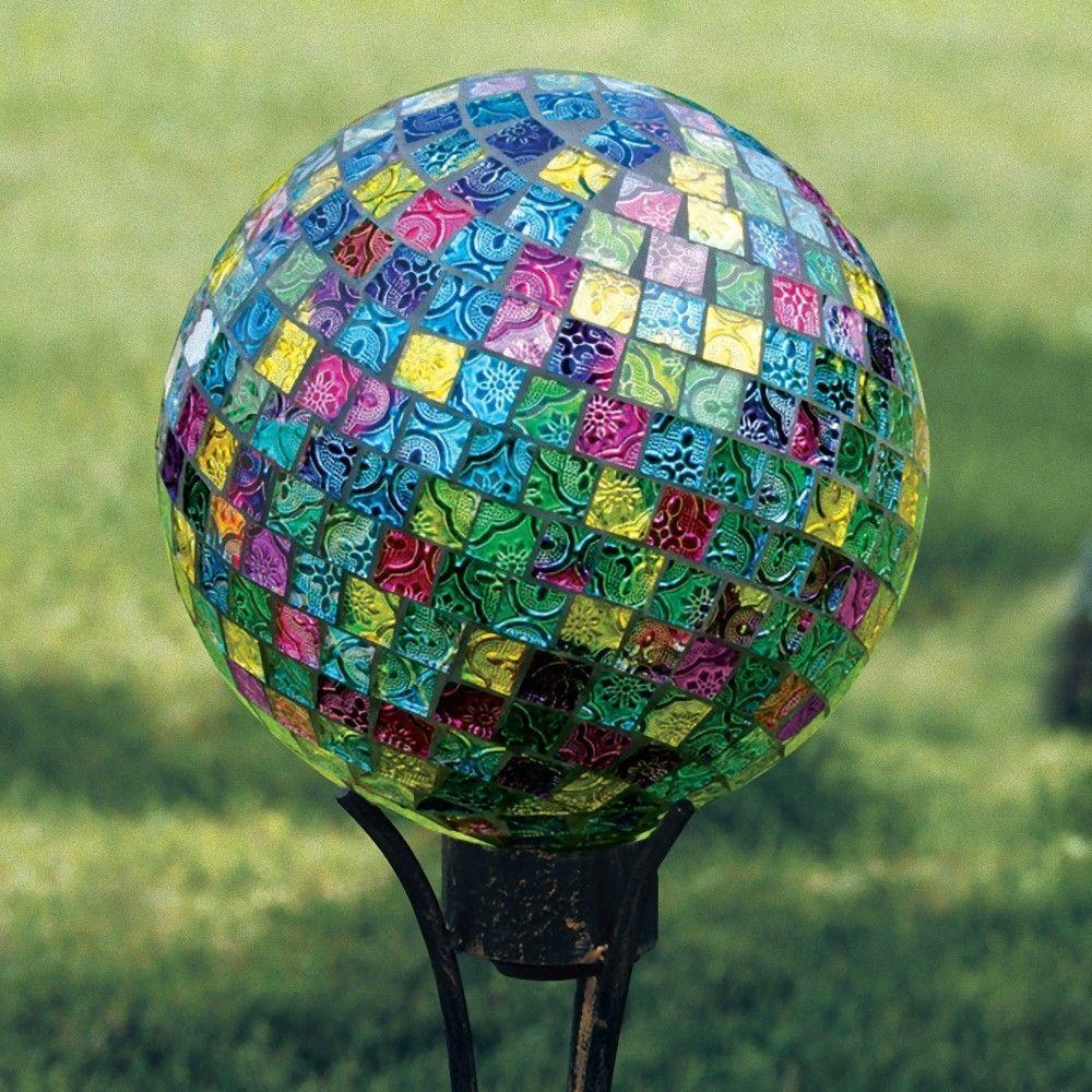 Art Glass Garden Jeweled Hues Hand Painted Mosaic Gazing Globe ...