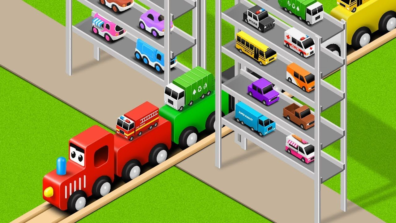 Learn Colors with Preschool Toy Train and Multi Level Parking Street ...