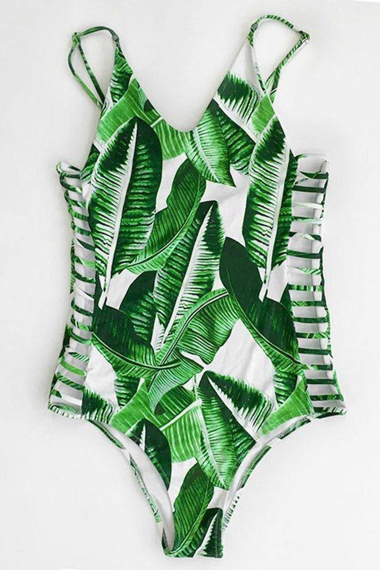 fdaae63176  CupShe -  CUPSHE Banana Leaves Print One-piece Swimsuit - AdoreWe.com