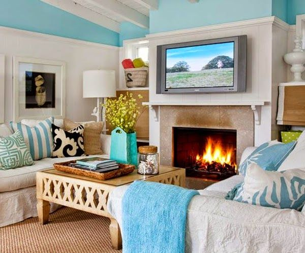 Bright Living Room Color Schemes, White Living Room Design And Pale Plue  Decorations Part 36