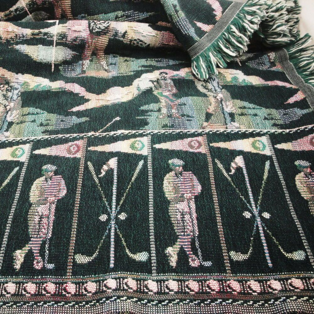 Goodwin Weavers Golf Golfing Golfers Cotton Fringed Tapestry Throw