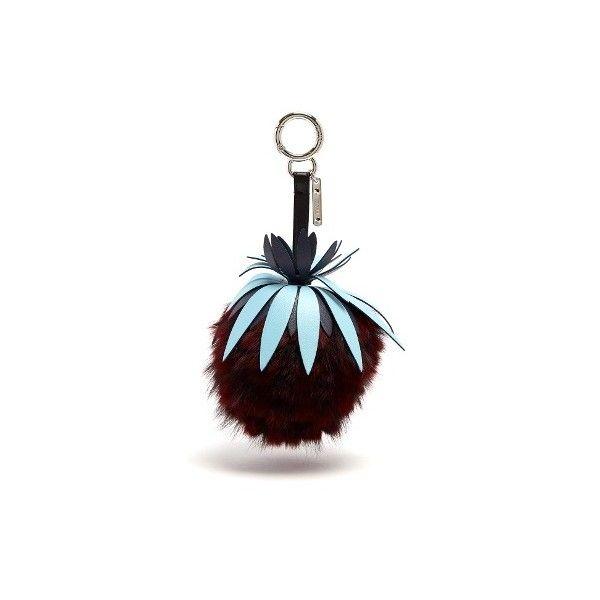 Pineapple fur-embellished key fob Fendi lVL5j7