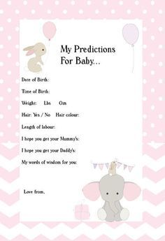 Baby Predictions Elephant,Pink,Girl,Bunny,Printable,Instant Download,Baby  Shower Ideas,Predictions For Baby,Baby Shower Games,Baby Shower