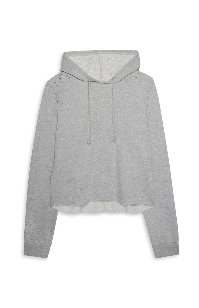 a681fd5f6 Primark - Grey Distressed Crop Hoodie