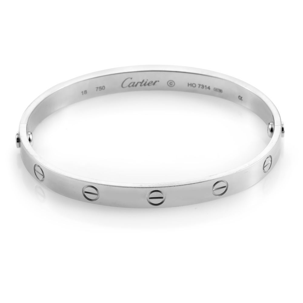 9a395735cbe Cartier LOVE Women s 18K White Gold Bangle Bracelet Size 16  Estate ...