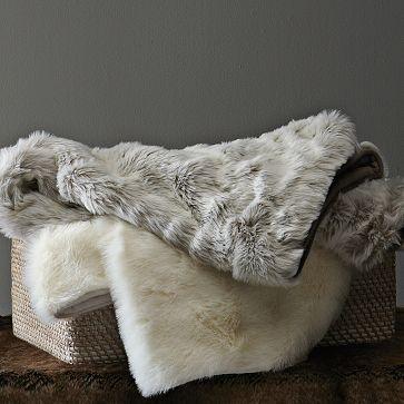 West Elm Throw Blanket Fauxfur Throw  Lynx Westelmi Need This Grey Throw In My Life