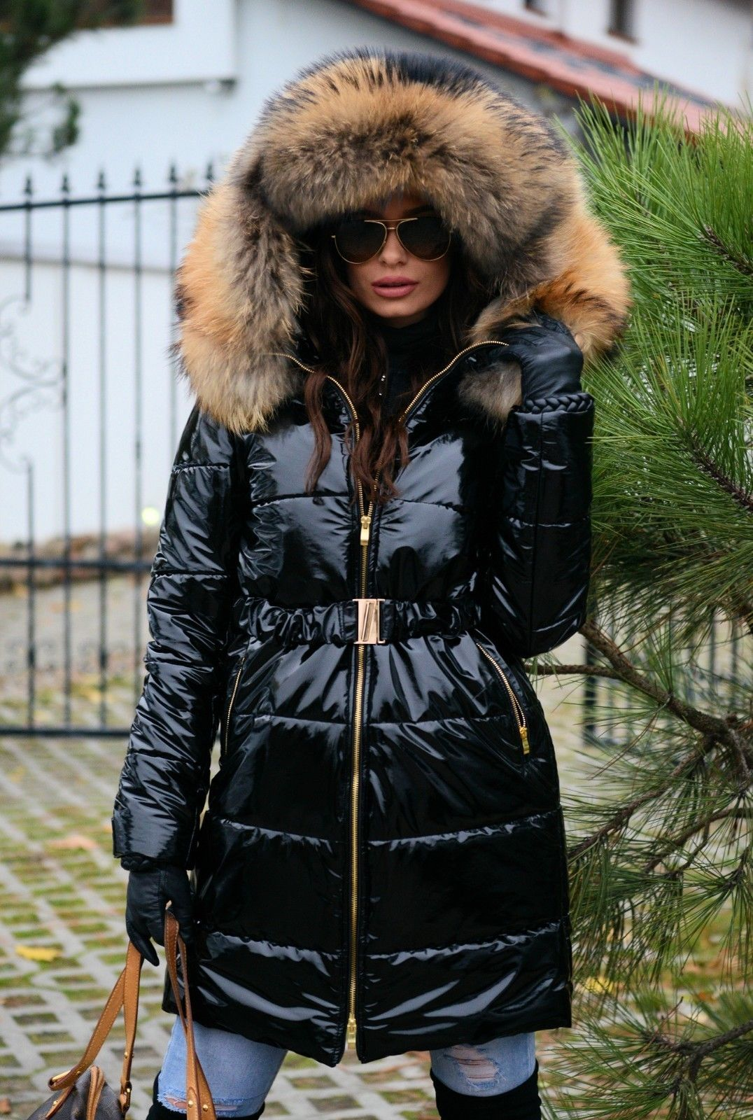 Classic Black Shiny Coat With Belt And Natural Fur Parka Women Hooded Outerwear Coat [ 1600 x 1076 Pixel ]