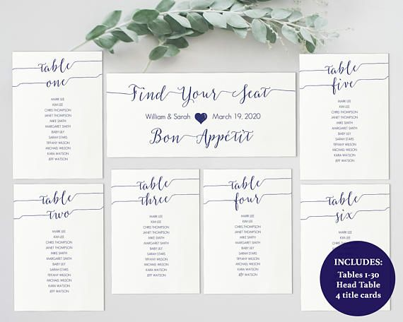 Printable Navy Blue Seating Chart Kit  Instant Download