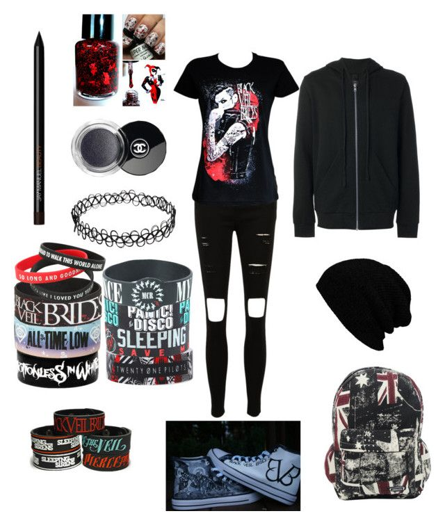 """""""Warped Tour #1"""" by summernaruto ❤ liked on Polyvore featuring Hot Topic, KBETHOS, Odeur and Chanel"""