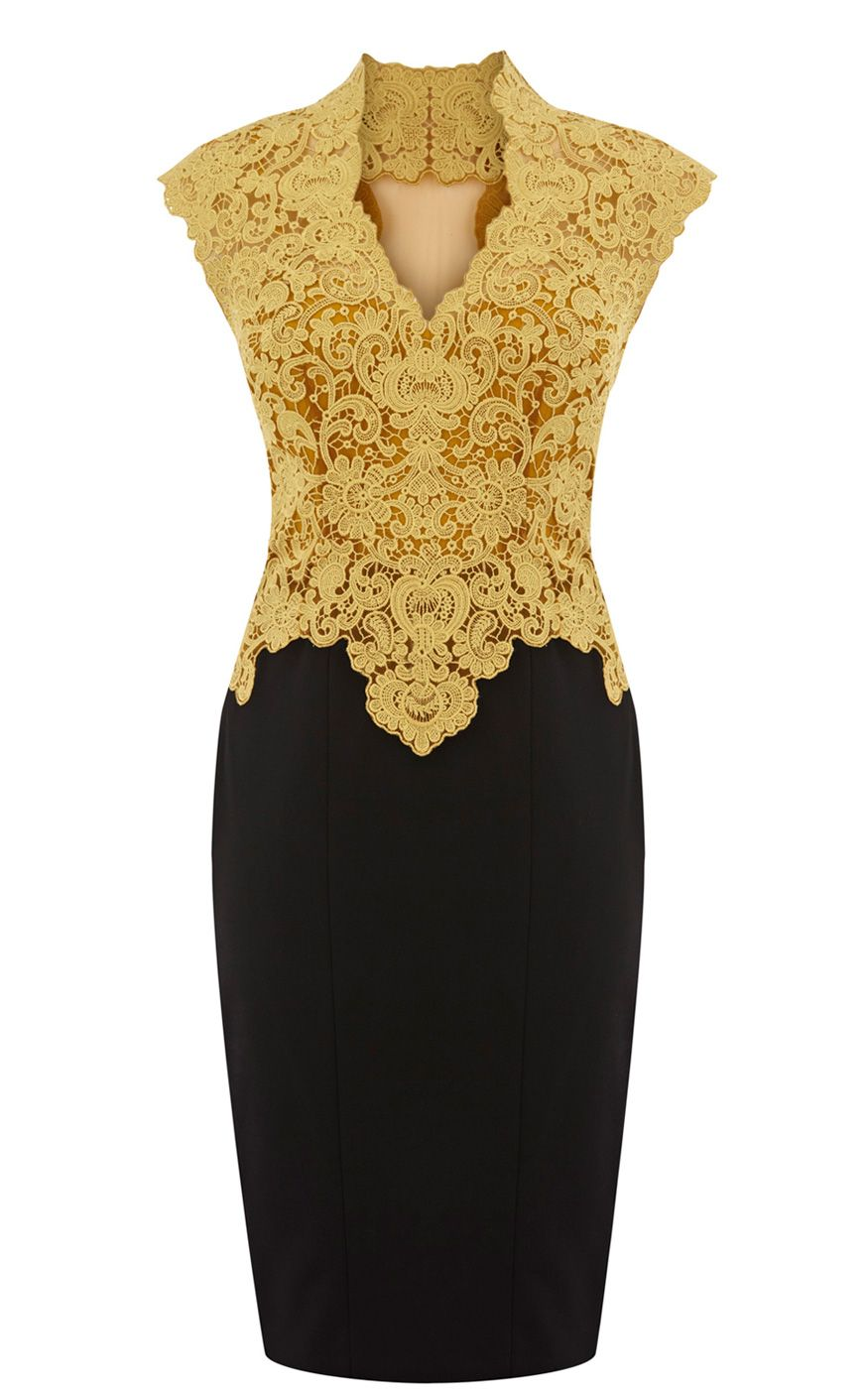 Black dress gold lace - Karen Millen Beautiful Cotton Lace Pencil Dress Yellow_black Karen Millen 91 60
