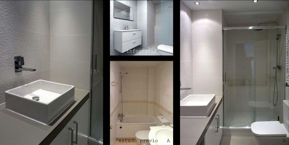 Se amplió el baño aprovechando el espacio de un armario empotrado que había en la habitación contigua.