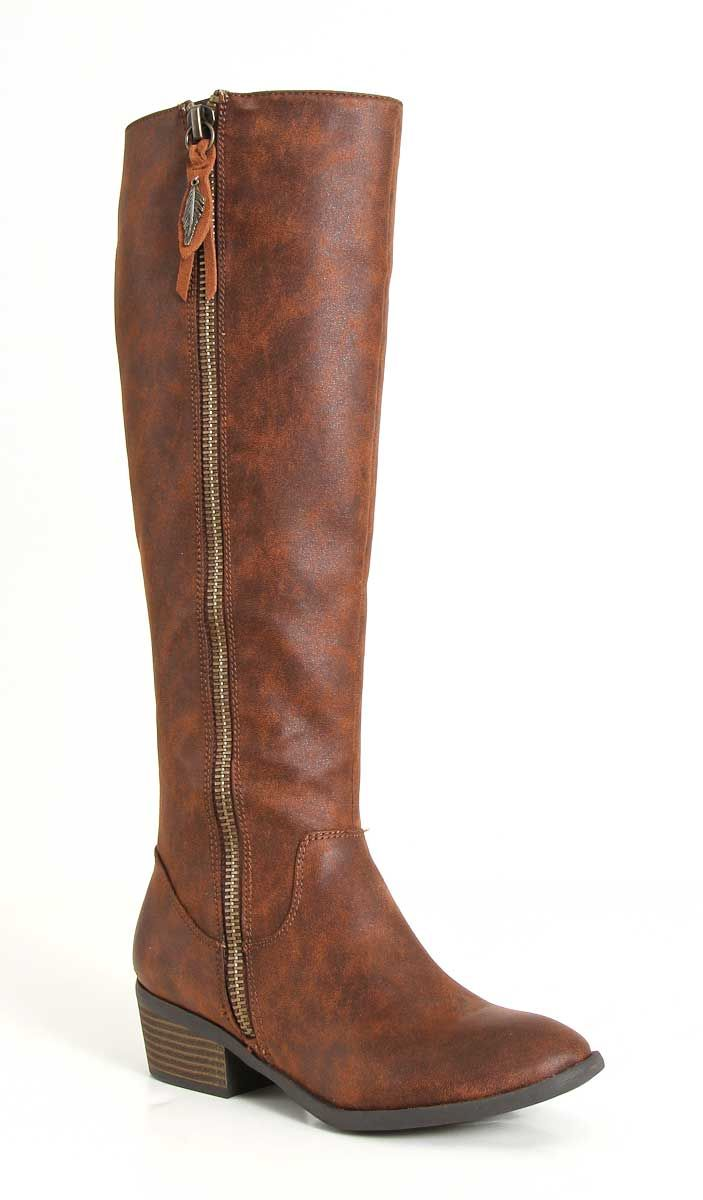 73f1da867876 MIA Shoes Phoenix Tall Boots with Side Zipper in Luggage GG2142-LUG ...