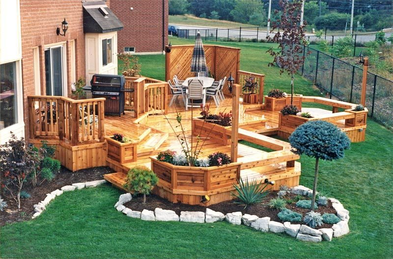 Multi level deck multi level wood deck 3 landscaping for Design couchtisch multilevel l