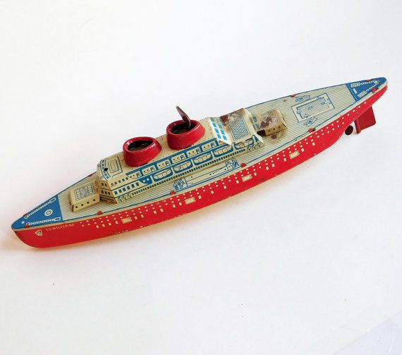 Vintage Tin Toy Cruise Ship SS Wolverine By Wolverine Supply - Cruise ship supplies