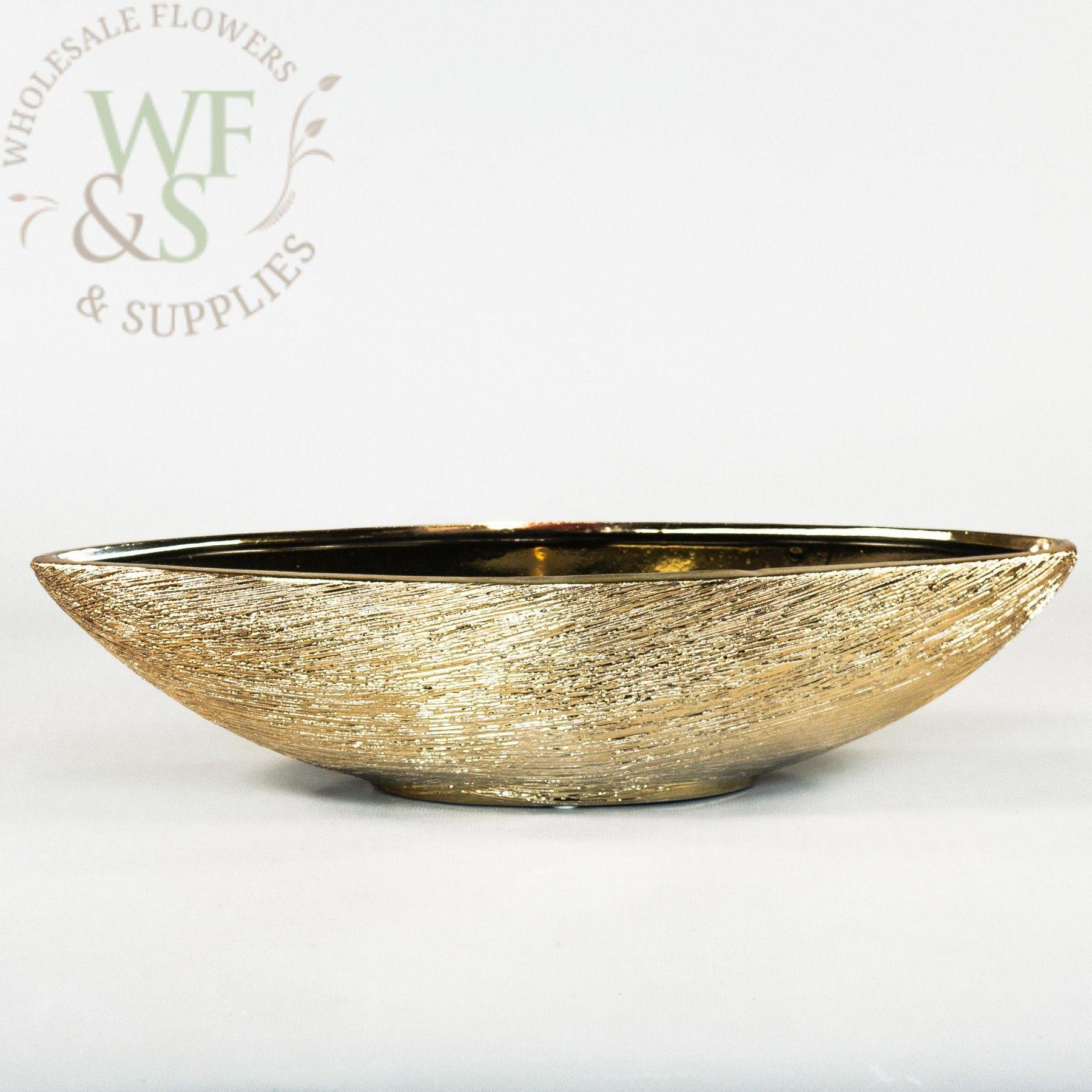 Gold Ceramic Boat Shaped Flower Pot Vase Container Gold Ceramic Ceramic Flower Pots Flower Pots
