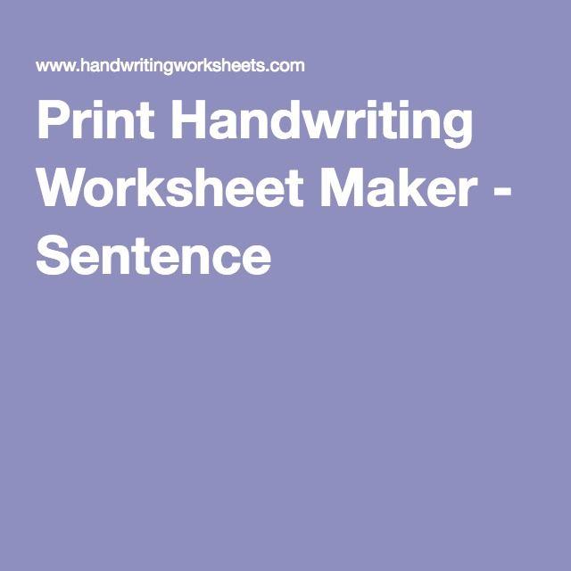 Print Handwriting Worksheet Maker Sentence Homeschool Writing